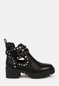 MISSGUIDED black studded wrap ankle boots ~ chunky stud embellished winter footwear