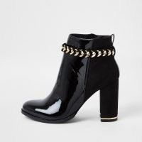 RIVER ISLAND Black suedette chain detail boots