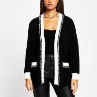 RIVER ISLAND Black tweed long sleeve cardigan ~ fringe trim cardigans