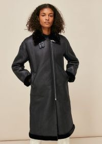 WHISTLES ULTIMATE LONGLINE BIKER / casual winter coats / stylish zip detail outerwear