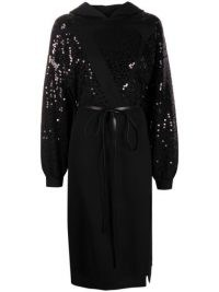 Valentino sequin-embellished hoodie dress | sequinned waist tie dresses | sparkly fashion