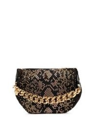 Versace python-pattern studded pouch / chunky chain handle bags / small studded handbags