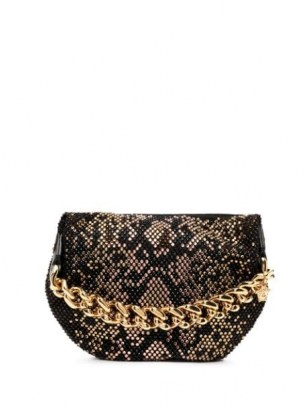 Versace python-pattern studded pouch / chunky chain handle bags / small studded handbags - flipped