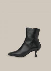 WHISTLES WADE SQUARE TOE BOOT / black leather kitten heel boots