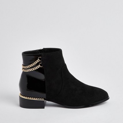 RIVER ISLAND Black wide fit chain detail boots / embellished boots - flipped