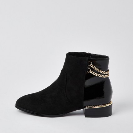 RIVER ISLAND Black wide fit chain detail boots / embellished boots