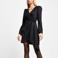River Island Black wrap waist long sleeve mini dress