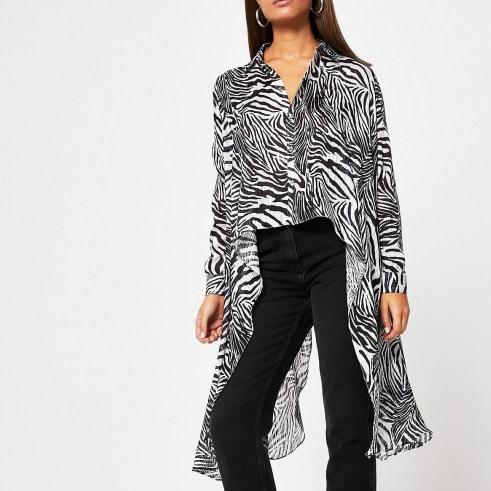 RIVER ISLAND Black zebra frill asymmetric sheer shirt / longline zebra print shirts - flipped