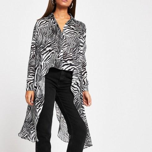RIVER ISLAND Black zebra frill asymmetric sheer shirt / longline zebra print shirts