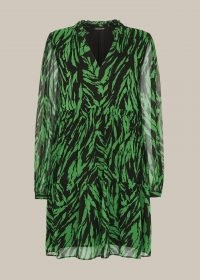 WHISTLES ZEBRA STRIPE TRAPEZE DRESS / wild animal stripes / black and green dresses