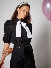 sister jane Cha Cha Puff Sleeve Blouse Black