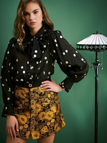 sister jane ALL THAT JAZZ Fancy Footwork Bow Blouse / spot print pussy bow blouses - flipped