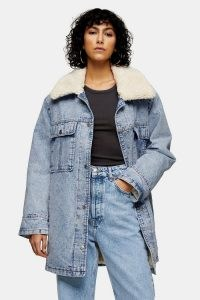 Topshop Bleach Acid Wash Borg Lined Longline Denim Coat | faux fur collar jackets