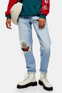 Topshop Bleach Super Ripped Mom Tapered Jeans | destroyed denim