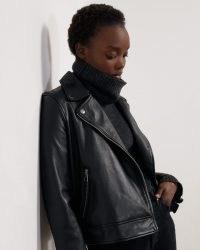 JIGSAW BLEEKER LEATHER BIKER – black zip detail jackets