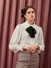 sister jane Get Together Ruffle Bow Blouse | frill trim neck tie blouses | polka dot prints