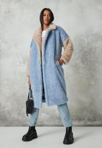 MISSGUIDED blue colourblock faux fur coat – textured winter coats