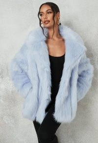 MISSGUIDED blue faux fur shawl collar coat – winter glamour