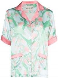 Helmstedt strawberry print silk pajama shirt / fruit / strawberries / pyjamas