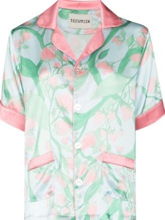 Helmstedt strawberry print silk pajama shirt / fruit / strawberries / pyjamas - flipped