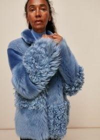 WHISTLES HEMA BLUE SHEARLING COAT ~ textured winter coats