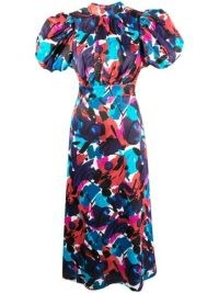 ROTATE abstract print open back dress / puff sleeve dresses