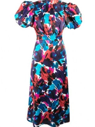 ROTATE abstract print open back dress / puff sleeve dresses - flipped