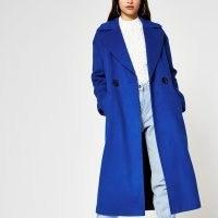 RIVER ISLAND Blue slouch long line coat