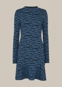 WHISTLES TIGER LEOPARD FLIPPY DRESS BLUE MULTI / mixed animal print dresses