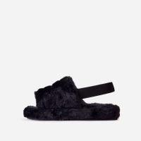 Boo Fluffy Stripe Slipper In Black Faux Fur