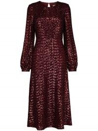 Borgo De Nor sequin embroidered midi dress in wine-red ~ glittering keyhole back dresses