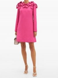 VALENTINO Bow-trim wool-blend cady mini dress ~ bright pink evening dresses