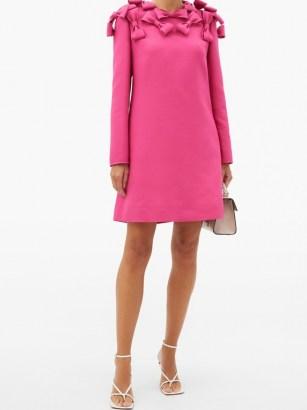VALENTINO Bow-trim wool-blend cady mini dress ~ bright pink evening dresses - flipped