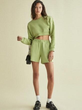 REFORMATION Boyfriend Knit Short – avocado green drawsting waist shorts - flipped