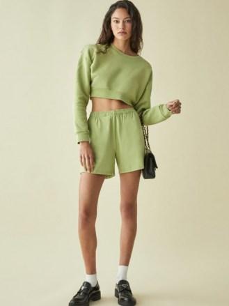 REFORMATION Boyfriend Knit Short – avocado green drawsting waist shorts