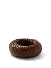 BOTTEGA VENETA Brown braided-leather cuff ~ chunky bracelets