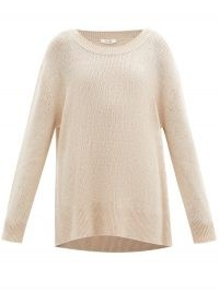THE ROW Braulia cashmere sweater | beige oversized drop shoulder sweaters | luxe knitwear