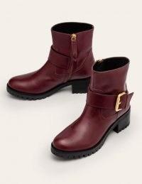 Boden Bristol Biker Boots / oxblood red buckle boots