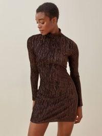 REFORMATION Bronti Dress – long sleeve high neck chocolate-brown mini dresses – metallic details