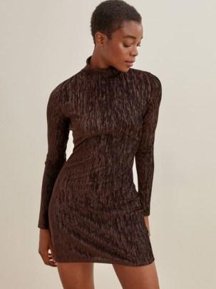 REFORMATION Bronti Dress – long sleeve high neck chocolate-brown mini dresses – metallic details - flipped