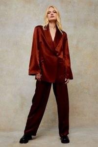 TOPSHOP Bronze Satin Relaxed Suit Blazer Jacket ~ slinky metallic style jackets