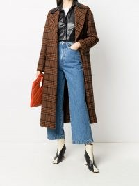 Nanushka Lana checked coat / navy blue and rust brown check print coats