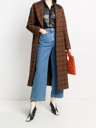 Nanushka Lana checked coat / navy blue and rust brown check print coats - flipped