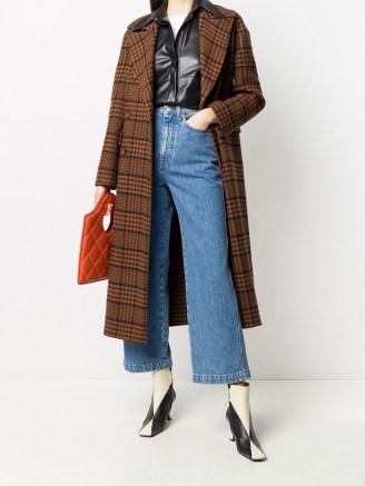 Nanushka Lana checked coat / navy blue and rust brown check print coats