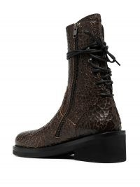 Ann Demeulemeester cracked lace-up boots | brown leather back tie boots