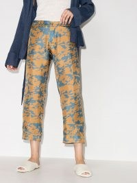 Asceno tie-dye print cropped trousers in camel brown / cyan blue