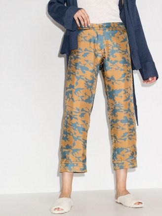 Asceno tie-dye print cropped trousers in camel brown / cyan blue - flipped