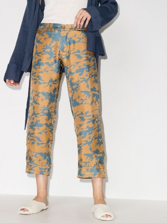 Asceno tie-dye print cropped trousers in camel brown / cyan blue
