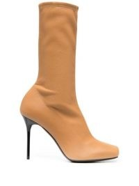 Balmain Rosy 110mm dark-beige ankle boots ~ square toe ~ stiletto heel
