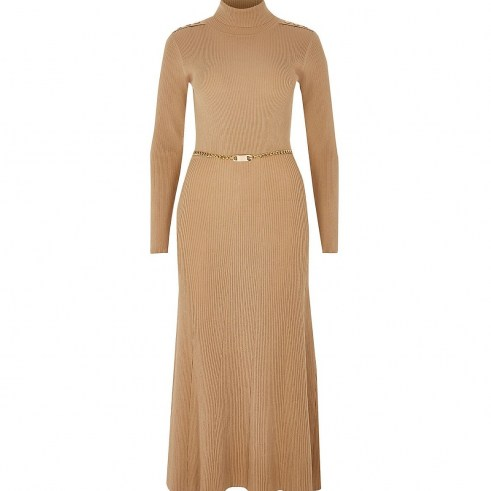 RIVER ISLAND Brown chain detail ribbed long sleeve dress – high neck dresses - flipped